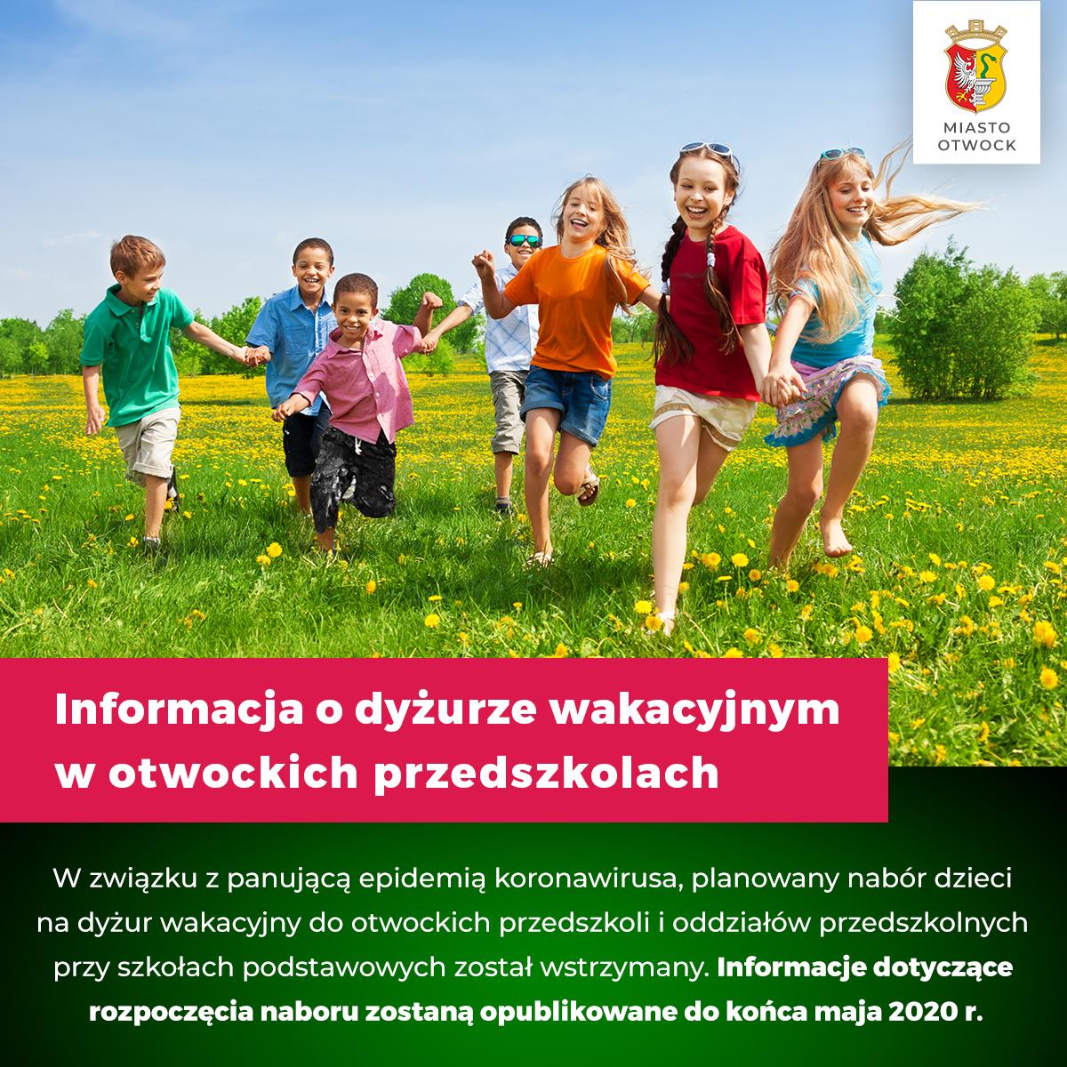 Informacja o dyżurze wakacyjnym w Otwockich Przedszkolach
