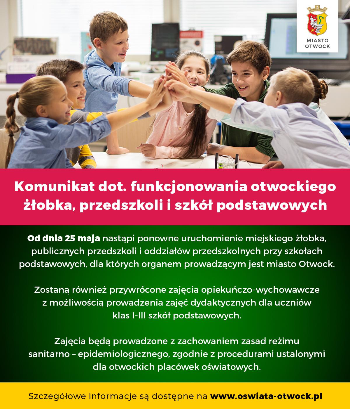 Komunikat dotyczący funkcjonowania otwockiego żłobka, przedszkoli i szkół podstawowych