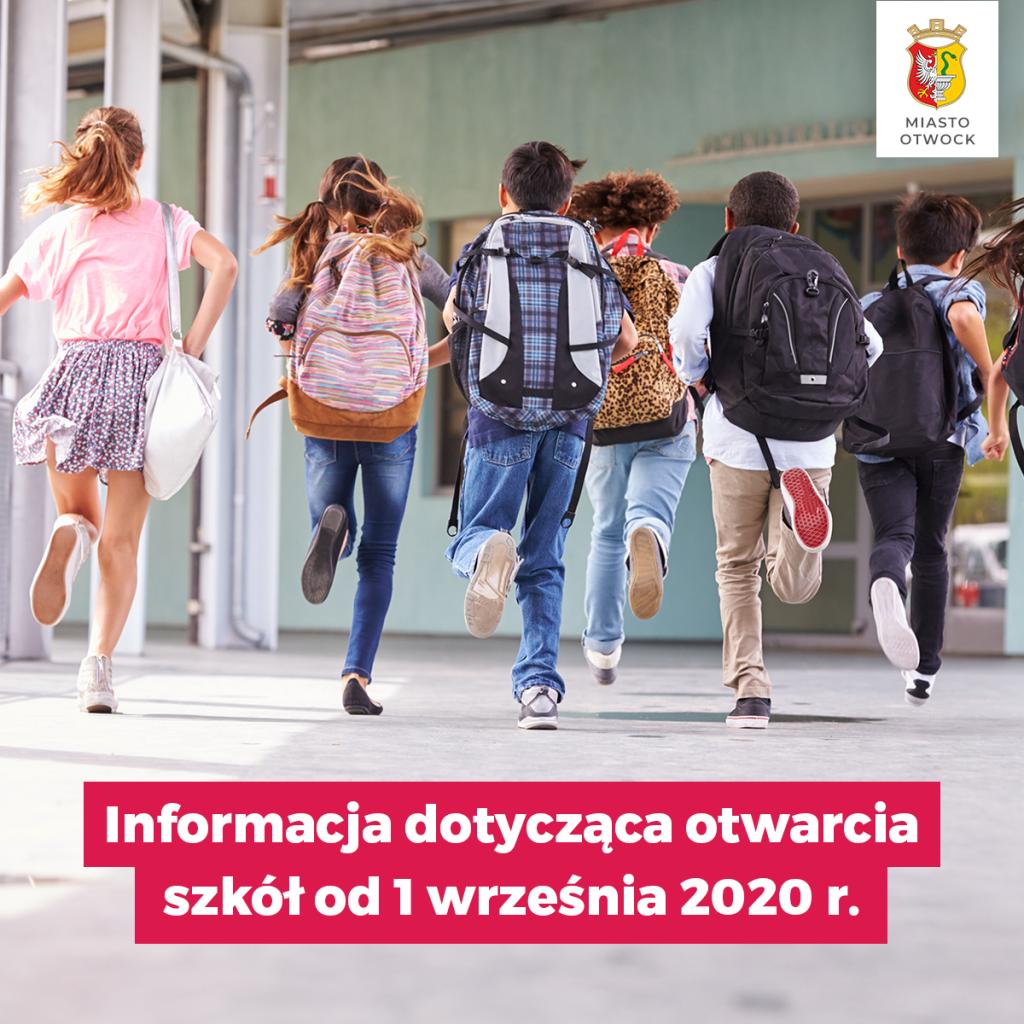 Informacja dotycząca otwarcia szkół od 1 września 2020 r.