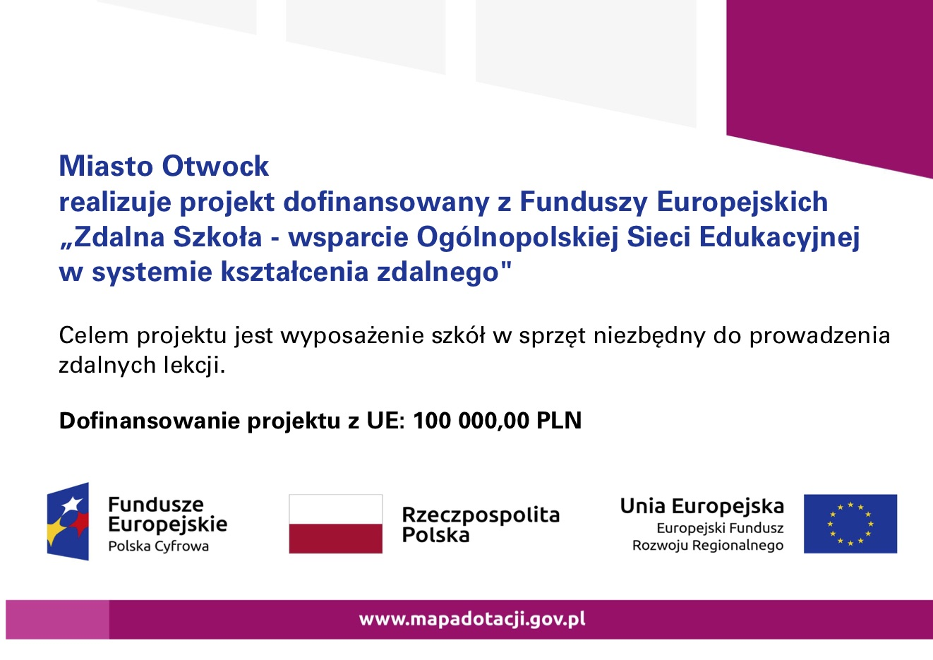 Sprzęt do zdalnej nauki dla szkół i placówek oświatowych prowadzonych przez Miasto Otwock